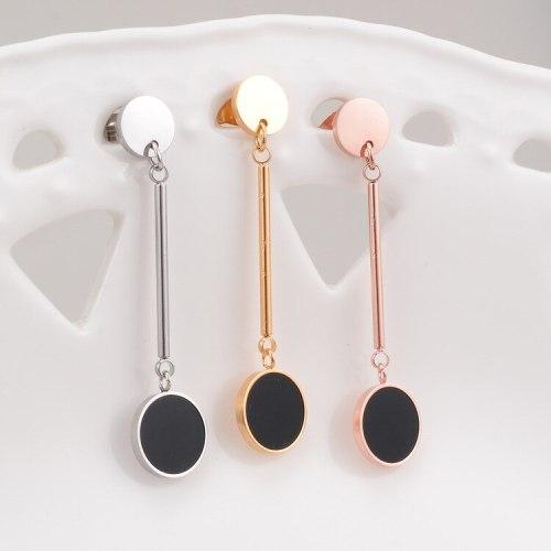 E16 Metal Disc Steel Wire Link Black Disc Tassel Stud Earrings Long Earrings Titanium Steel Plated 18K Rose