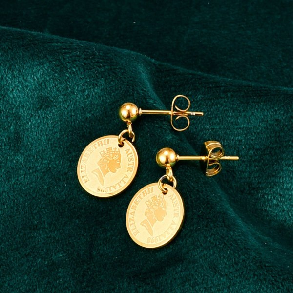 E92 18K Gold Retro Fashion Portrait Coin Stud Earrings Ins Korean Fashion Personalized European and American Style
