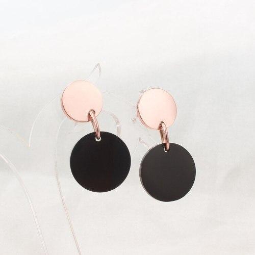 E85 Korean round Black Rose Gold Earrings Long round Earrings Personality Simple Retro Drop Earrings