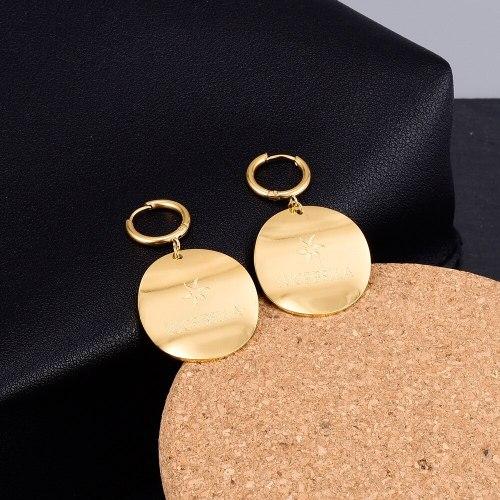 E96 Korean Fashion Titanium Steel Plated 18K Gold Net Red Earrings Personality Wave round Brand Ear Studs Earrings Ear Ring