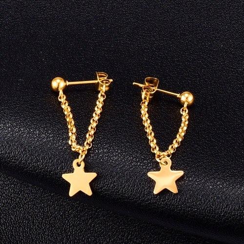 E124 Back-Mounted Star Chain Stud Earrings Women's Tassel Pendant Titanium Steel Plated 18K Gold Accessories