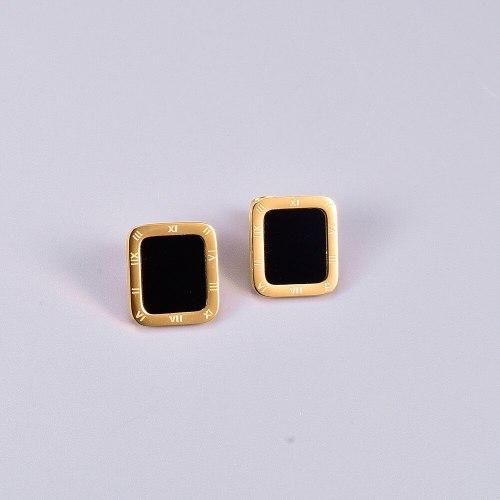 E76 Wholesale Rectangular Roman Digital Stud Earrings Black Square Golden Edge Stud Earrings Elegant Earrings