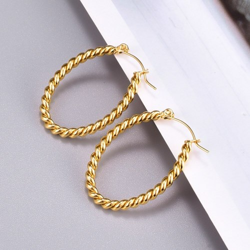 E58 Wholesale Model Style Minimalist Design Fashionable 18K Gold Twist Weave Thick Type round Ring Hoop Earrings Hoop