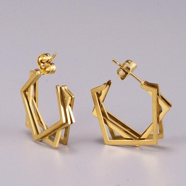 E73 Irregular Square Stud Earrings Ornament Steel Korean Style Fashion Internet Celebrity Style Eardrops
