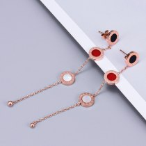 E61 Korean Style Personalized Fashion Three-Color Roman Numeral Tassel Earrings Long Ear Line Titanium Steel Simple Ear Rings