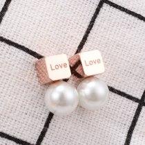 E115 Korean Fashion Rose Gold Square Small Pearl Love Letter Titanium Steel Ear Studs Earrings