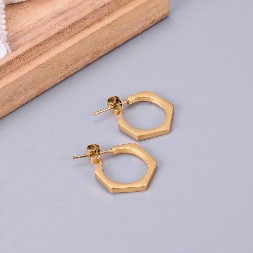 E134 Geometric Style Ins Hexagon Nut Stud Earrings Small Ear Ring Earrings Titanium Steel 18K Gold Plating