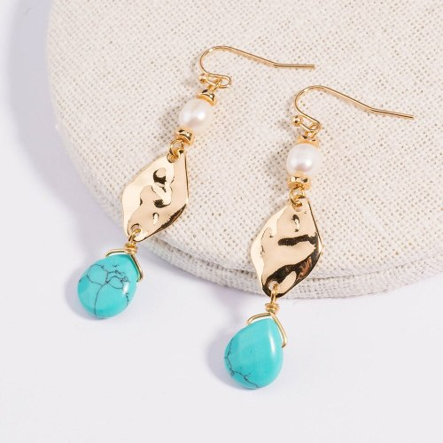European and American Trendy Earrings Retro Simple All-Match Natural Turquoise Pendant Geometric Earrings Jewelry Women