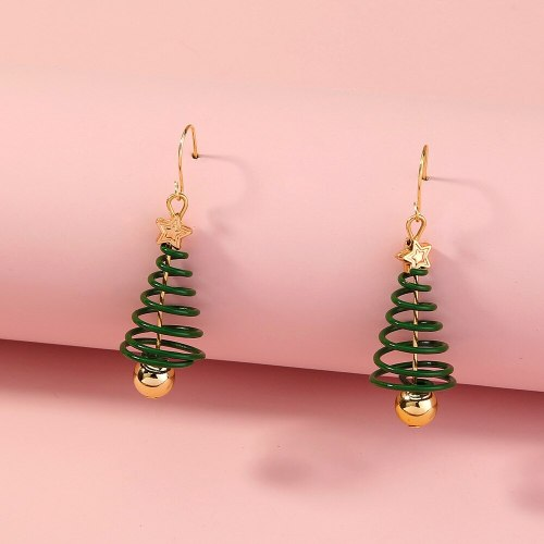 Europe and America Cross Border Hot-Selling Ornament Green Spiral Christmas Tree Fashion Personality Earrings Holiday Gift