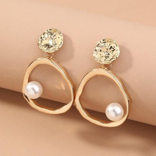 European and American Ornament Simple All-Match Metal Geometric Pearl Earrings Ins