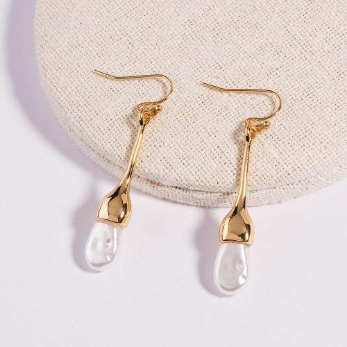 Europe and America Cross Border Jewelry Simple Graceful Long Pure White Pearl Tassel Earrings Metal Trendy Earrings Ladies