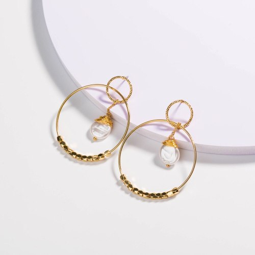 European and American Fresh Temperament Earrings Fashionable Exaggerated round Surrounding Cable Flat Pearl Trending Earrings