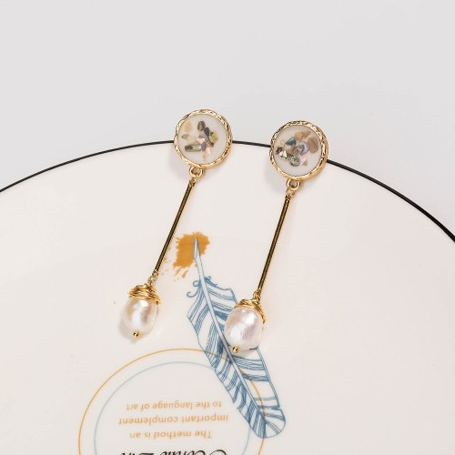 European and American Fashion Style Earrings White Dripping Oil Color Shell Natural Stone Earrings Jewelry Long Wild Ear Studs