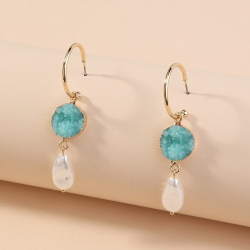 European and American Foreign Trade Hot-Selling Ornament Elegant Light Green Vug All-Match Pearl C- Shaped Ear Hook Earrings
