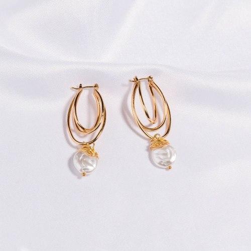 Best Seller in Europe and America Exaggerated Creative Earrings Multi-Layer U-Shaped Earrings Pure White Pearl Winding Earrings