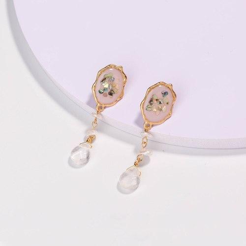 European and American Earrings Women's Colorful Shell Earrings Natural Transparent Water Drop Stone Eardrop Jewelry