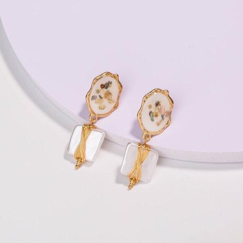 Ornament Colorful Shell European and American Fashion Handmade Winding Pure White Square Pearl Earrings Ear Hook