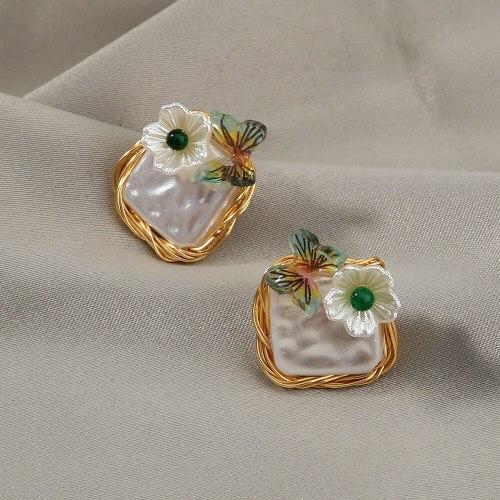 S925 Handmade Winding Baroque Imitation Pearl Earrings Fresh All-Match Ins Small Butterfly Flower Earrings