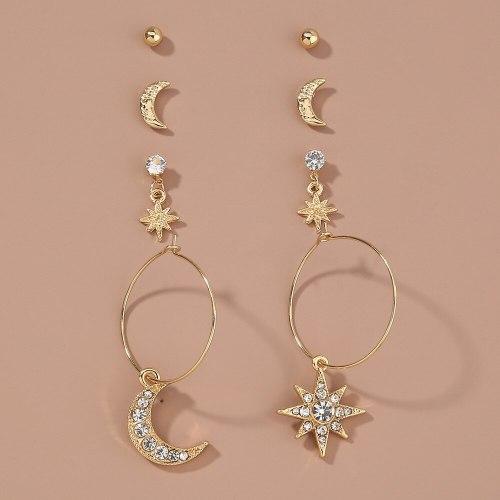 European and American Earrings Combination Set Earrings Simple Fashion Micro Rhinestone Star and Moon Earrings