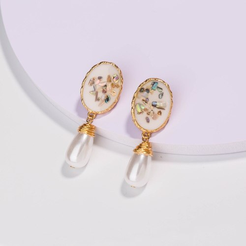 European and American Ornament Personality Fashion Color Shell Hand-Wound Pure White Water Drop Pearl Imitation Earrings