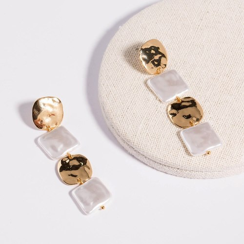 Two-Tone Square Pearl Long Tassel Jewelry Pure White Square Pearl Simplicity Elegant Eardrops Earrings Ins