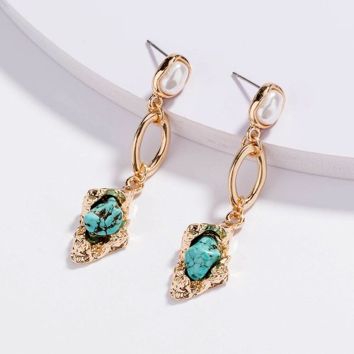 European and American Retro Creative All-Match Ornament Pearl Earrings Long Natural Turquoise Pendant Earrings