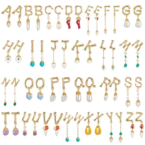 26 English Letters Earrings Natural Stone Pearl Shell Earrings Jewelry Wholesale