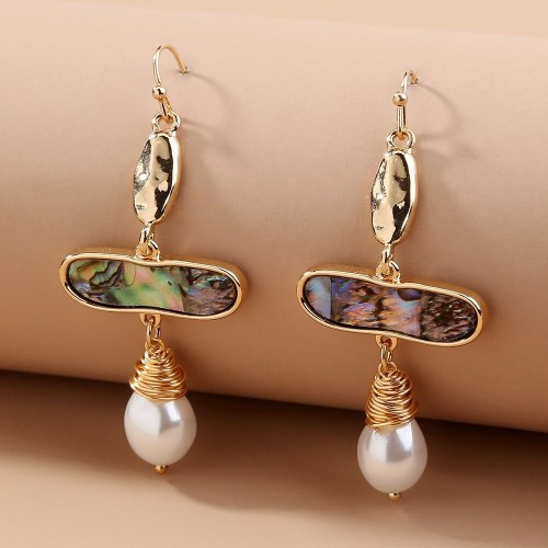 European and American New Hot-Selling Ornament Geometric Natural Abalone Shaped Pearl Earrings Retro Easy Matching Earrings