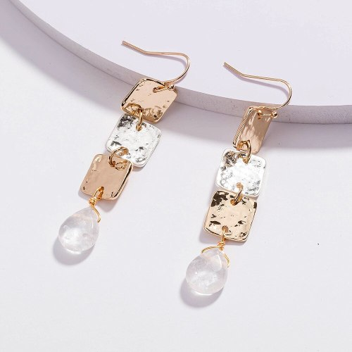 European and American Popular Ornament Metal Square Long and Simple All-Match Transparent Crystal Pendant Earrings