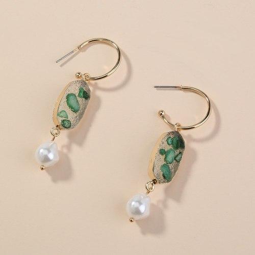 Cross Border Accessories Summer Small Sober Watermelon Green Vug Eardrop Earring Fashion C- Shaped Trendy All-Match Earrings