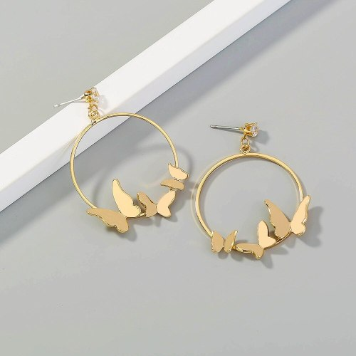 Europe and America Cross Border Hot Fashion Metal Butterfly Eardrops Earrings Boho Features Personalized Earrings