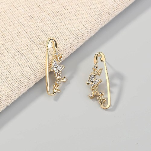 New Internet Celebrity Rhinestone Earrings Metal Pin Temperamental Minority All-Match Earrings Butterfly Pin Studs