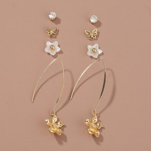 Japanese and Korean Partysu Set Combination Earrings Simple Temperamental All-Match Pearl Earrings Female Student Earrings