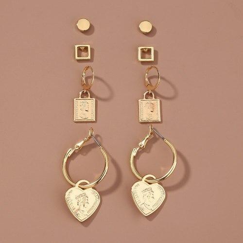 Europe and America New Set Earrings Metal Portrait Love Pendant Fashion Personality Combination Set Ear Studs Earrings