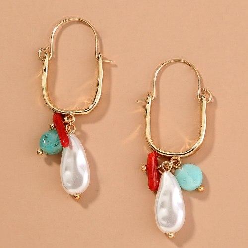 European and American Hot Sale U-Shaped Stud Earrings Simple Pearl Earrings Eardrops Natural Stone Accessories Earrings