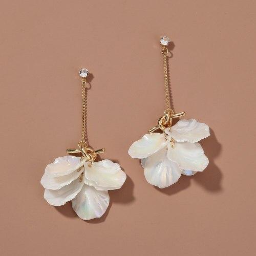 Korean Style Popular Fresh Girl Knotted Colorful Pearl White Petal Eardrops Earrings Long Fringe Earrings