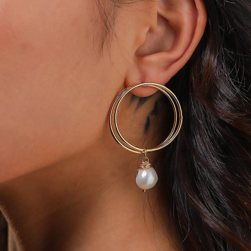 European and American Exaggerated Ornament Golden Double Circle Ear Hook Hand Winding Natural Freshwater Bread Pearl Earrings