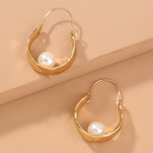 European and American  Exaggerated Retro Style Metal Earrings Imitation Baroque Pearl Simple Stylish Textured Earrings