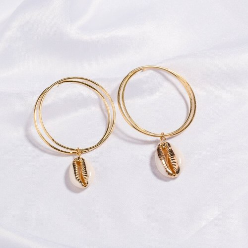 Popular Simplicity Natural Shell Earrings Exaggerated Personalized Double round Ring Alloy Shape Stud Earrings Ornament