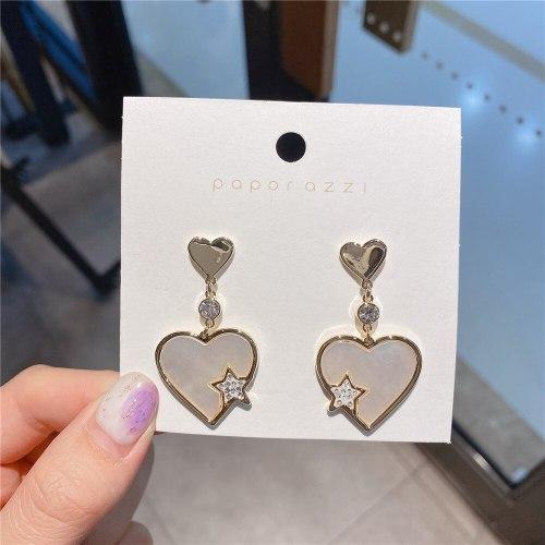 Korean Style Sterling Silver Needle Gold Plated Heart-Shaped Zircon Heart-Shaped Earrings Graceful Simple Earrings Stud Earrings