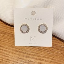 Korean Style Sterling Silver Needle Personalized Inlaid Zircon Earrings Ins Style Circle All-Match Earrings Graceful Earrings