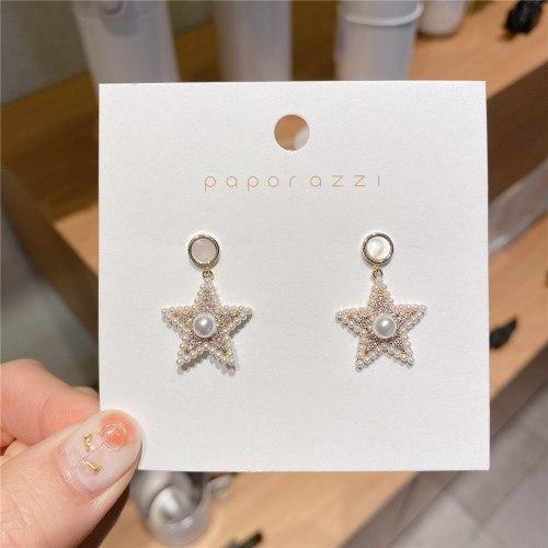 Socialite Temperament Five-Pointed Star Pearl Earrings Sterling Silver Needle Simple Wild Earrings Stud Earrings for Women