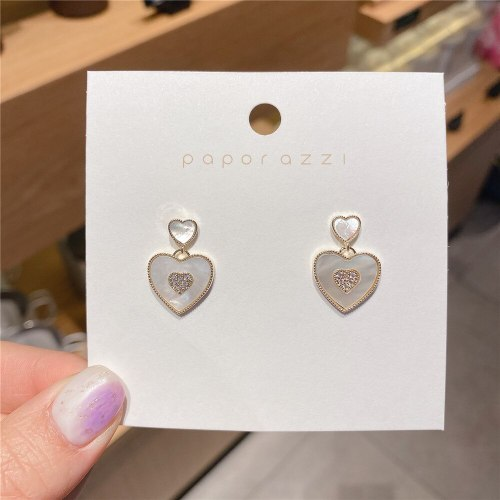 Korean Style Heart Shaped Love Shell Earrings 14K Gold Plated Zircon All-Match and Fresh 925 Silver Needle Temperament Earrings