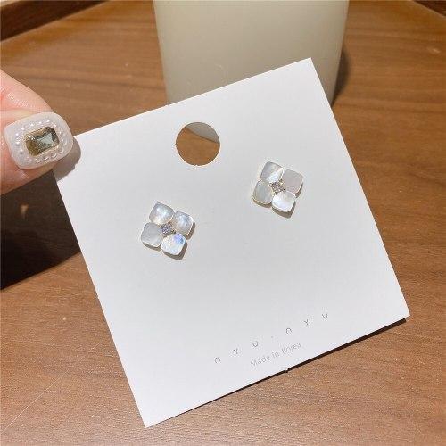 Korean S925 Silver Pin Shell Earrings Small Square Flower Stud Earrings Student Online Red All-Match Earrings for Women