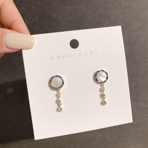 Sterling Silver Needle Simple Earrings Temperament Wild Internet Celebrity Circle Shell Earrings Refined Zircon Ear Studs