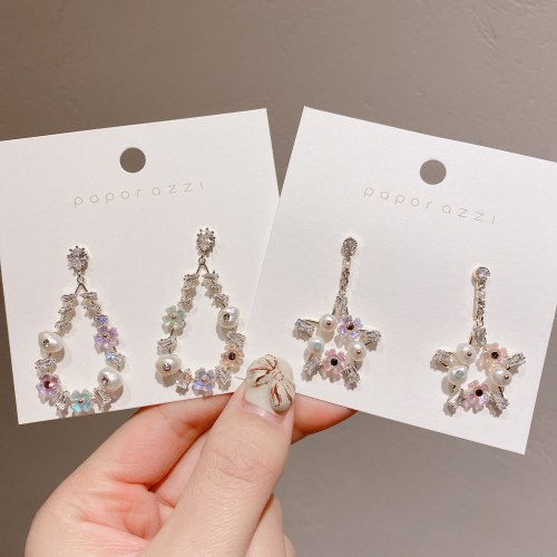 Korean Style Personality Pearl Earrings All-Match Five-Pointed Star Water Drop Silver Pin Earrings Hipster Fashion Ear Studs