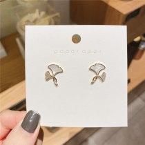 Personality Minimalist Elegant Fresh Ginkgo Leaf Earrings Graceful Online Influencer Inlaid Zircon Ear Studs Earrings