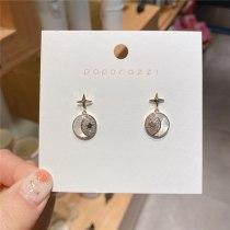 Fashion Design Small Fresh Zircon Moon Star Ear Studs Sterling Silver Needle Versatile Personality Small Student Ear Stud