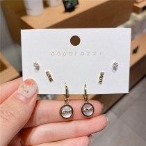 Set Series Love Letter round Ring Earrings Sterling Silver Needle Gold Plated Zircon Stud Earrings Simple and Elegant Earrings