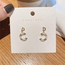 Korean Style Internet Celebrity C- Shaped Earrings Sterling Silver Needle Plated Real Inlaid Zircon Stud Earrings